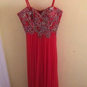 Red Long Prom Dress - size 1/2 - Dave and Johnny
